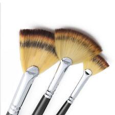 3 pcs Fan Brush Pen Wooden Handle Oil Painting Acrylic Watercolor Paint Tool