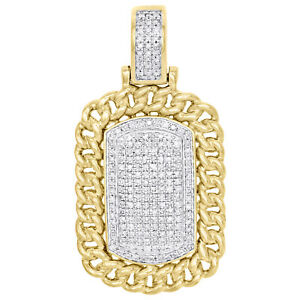 "10K Yellow Gold Diamond Dog Tag Miami Cuban Border Pendant 1.55"" Charm 5/8 CT"