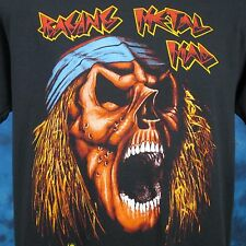 vintage 80s RAGING METAL MAD SKULL PAPER THIN T-Shirt M/L cartoon skeleton rock