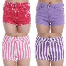 Hot Pants Striped Mid Rise Shorts for Women