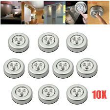 10X Push Touch Lights LED Home Wardrobe Battery Powered Tap Stick On Click Lamp