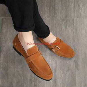 Mens Suede Loafers Dress Business Flat Metal Formal Wedding Party Shoes Oversize