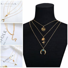 Pendant 3 Layer Circle Boho Necklace Fashion Women Gold Plated Long Moon Tree