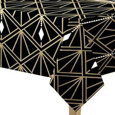 Hollywood Star Black Gold Birthday Party Tableware Plastic Tablecover Decoration
