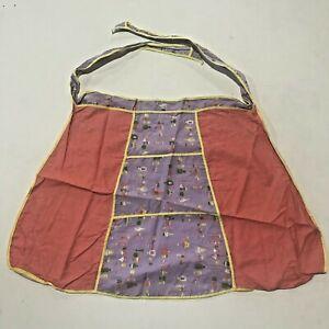Vintage 1960's Kitchen Apron Retro Mod GoGo Pinup Floral Paisley Purple Orange