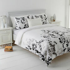 New Mia Black Queen Size Quilt / Doona Cover Set In 2 Linen Covers Leaf Design