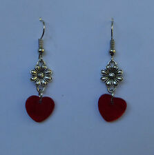 LOVELY HEART AND FLOWER SILVER PLATED EARRINGS RED SHELL HEART