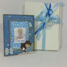 BOMBONIERE cornice BATTESIMO portafoto con angelo con orsetto maschietto bimbo