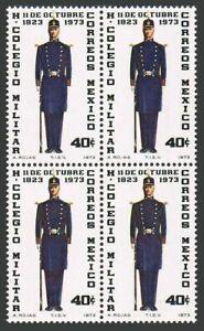 Mexico 1051 block/4,MNH.Michel 1399. Military College,150th Ann.1973.Cadet.
