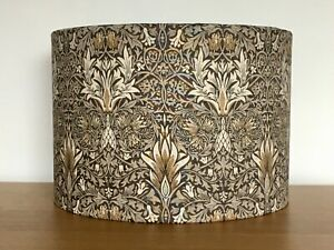 William Morris Snakeshead Fabric Lampshade Pendant Table Lamp Taupe brown gold