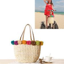 Beach Bag Pom Ball Handbag Straw Basket Holiday Bohemia Shoulder Bag Tote New