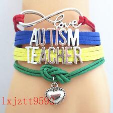 Infinity Love AUTISM Teacher Mum Awareness Heart Charm friendship BraceletsSL283