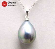 "12*16MM Drop Gray Sea Shell Pearl Pendant Necklace for Women Silver 16"" Chokers"