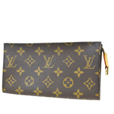 Authentic LOUIS VUITTON Bucket GM Pouch Monogram Leather Brown France 05MA967