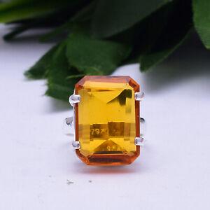 Appealing Citrine Topaz Gemstone 925 Sterling Silver Handmade Ring All Size