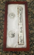 Baby Keepsake Gift Birth Certificate Holder First Tooth & Curl with Wooden Box
