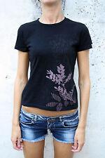 CARHARTT SHORT SLEEVED  BLACK Purple  T SHIRT Flower design TOP COTTON S SMALL