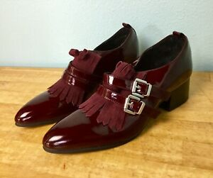 New SHELLYS LONDON Patent Leather Oxford Loafers Low Block Heel Salisbury Buckle