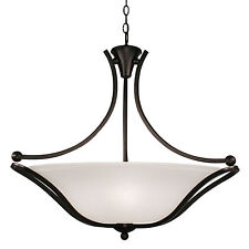 Bronze And White Feather Glass Chandelier/Pendant Light