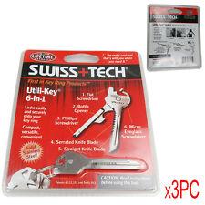 3 X Steel Swiss+Tech 6 In 1 Utili-Key Keychain Keyring EDC Multi Tools New
