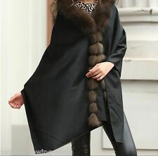 Elegant/XLReal Cashmere  Real  Best Fox Fur Cloak  poncho/Coat/Wraps/Cape/Black