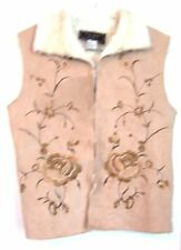 Sz S - FU DA Sport 100% Polyester Embroidered  Tan Vest w/Fur Collar & Lining