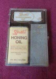 Vintage Smith's Arkansas Sharpening Stone Kit SK-1 Hard Soft w/ Honing Oil