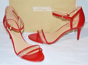 New $130 Michael Kors Simone Mid Sandal Leather/Clear Plastic Heels Classic