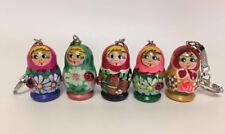 Set of 5 Russian Matryoshka Doll Key Chain Hand Painted Wood #2