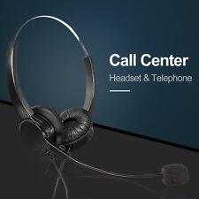 Hands-free  Office Corded Telephone Headset Call Center Operator Headphone + Mic