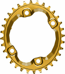 absoluteBLACK Oval 96 BCD Chainring for Shimano XT M8000 32t BCD 4-Bolt Gold