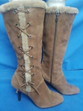Women's Joan & David Circa Brown Leather Suede Fashion Knee High Boots Size 9 B