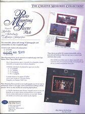 Creative Memories PHOTO MOUNTING SLEEVE PACK Sleeves Scrapbook Refill Set 12