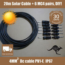 DIY 20m DC Solar Cable 4mm Wire with 6 MC4 Connectors male female Solar cable