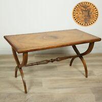Tavolino tavolo antico da salotto soggiorno in legno intarsiato rettangolare .
