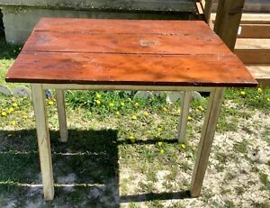 Vintage Distressed Rustic Barn Wood Hand Made Farm Kitchen Table  primitive