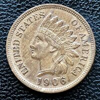 1906 Indian Head Cent One Penny 1c High Grade AU Det. #18826