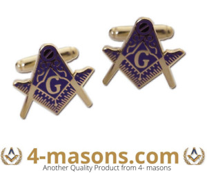 Gilt and Blue finish cut to shape Square and compass cufflinks