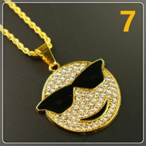 Men'S Jewelry Full Crystal Glasses Smile Face Pendant Cool Necklace Accessories