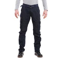Pantalones de hombre cargo militares bolsillos lateral casual cordones algodón