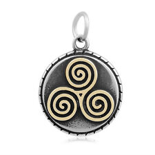colored Spiral Triskele Pendant no chain 316L Stainless Steel Celtic with gold