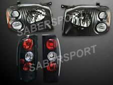 Pair Eagle Eyes Black Headlights + Taillights for 2001-2004 Nissan Frontier
