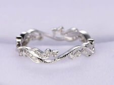 Ct Round Cut Simulant Diamond Eternity Engagement Band Ring Silver White Gold FN