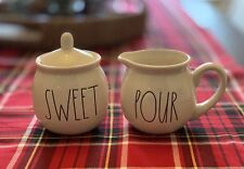 NEW! Rae Dunn - SWEET & POUR Sugar Cream Jar Set - White Long Letter Ceramic