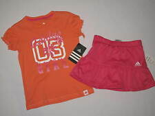 NWT ADIDAS 2pc set  shirt skirt GIRL size 4T orange, pink