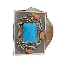 Navajo Native Blue TURQUOISE Spiny Oyster STERLING SILVER BELT Buckle Concho 716