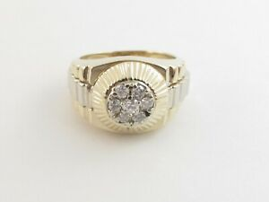 14k Yellow And White Gold Men's Diamond Ring