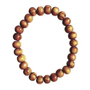 Natural Wooden Round Bead Bracelet Tribal Mens Womens Beach on Elastic Cord