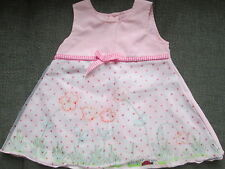 IN THE PINK GIRLS PRETTY LADYBIRD & FLOWER LAYERED DRESS PINK RAYON AGE 6-12M
