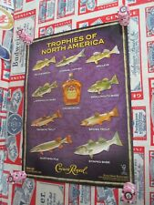 "NEW VTG 2010 CROWN ROYAL WHISKEY "" FISH IN MOTION "" BAR SIGN FISHING POSTER BEER"